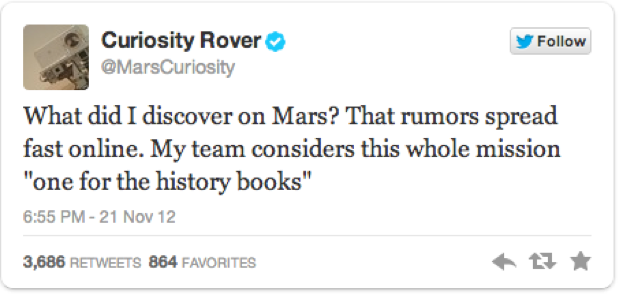 A tweet from the NASA scientists behind the Curiosity Rover hypesplosion