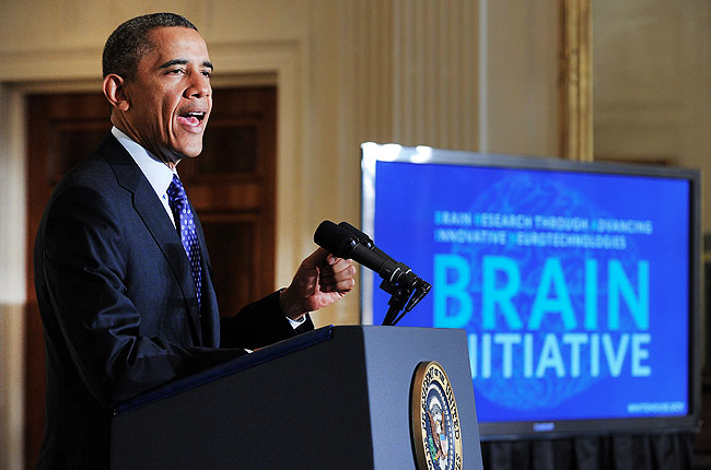 Obama announcing the BRAIN initiative