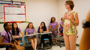 Jeanne Garbarino working with NYC's Camp G.O.A.L.S. for Girls group